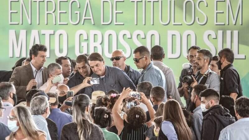 Presidente Jair Bolsonaro (sem partido) em discurso durante evento em Terenos
