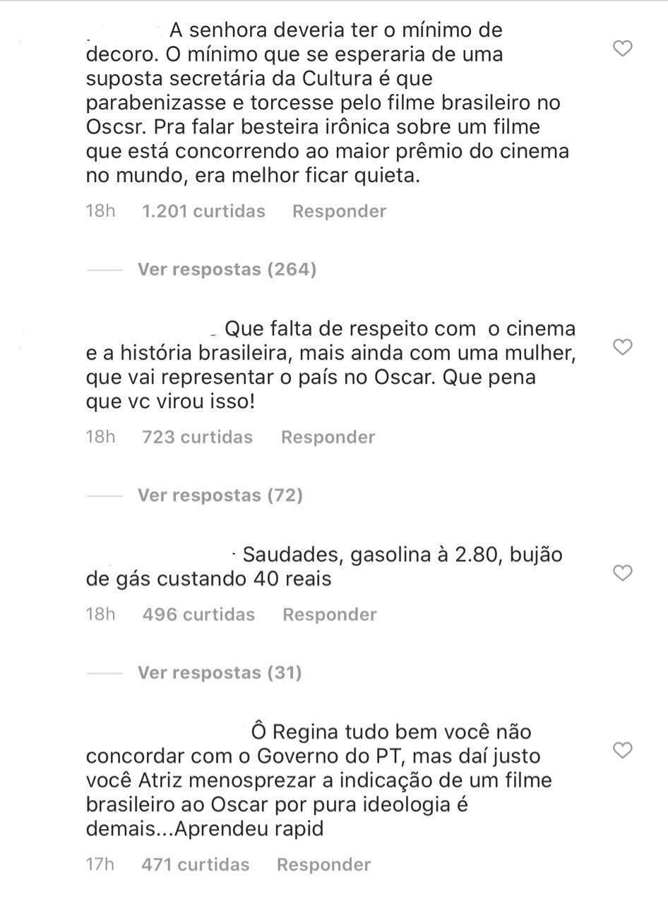 Em noite de Oscar, Regina Duarte 'dedica prêmio' a protestos contra o PT
