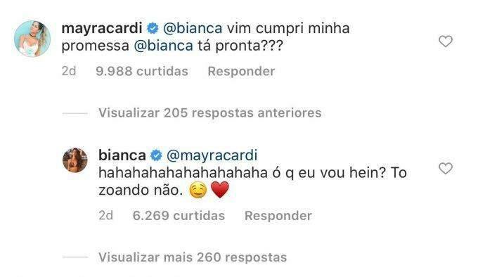 Separada, Mayra Cardi flerta com Bianca Andrade nas redes
