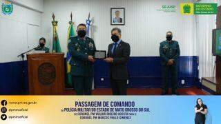 Em cerimônia fechada ao público, coronel Marcos Paulo assume comando da PPMS