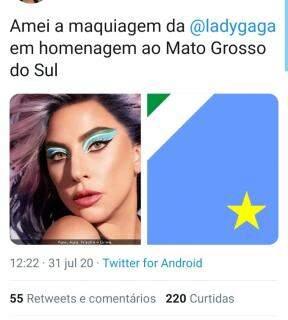 Lady Gaga usa maquiagem com cores da bandeira de MS e fãs piram