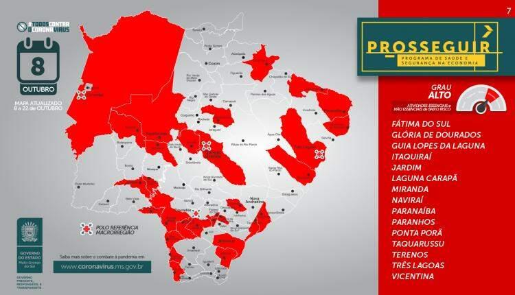 De 79 cidades de MS, 35 apresentaram piora na classificação de risco no Prosseguir