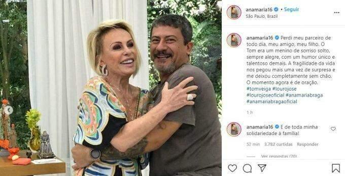Ana Maria lamenta morte de Tom Veiga: 'Perdi meu amigo de todo dia'
