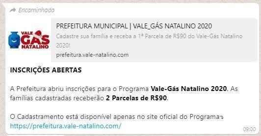 Prefeitura de Três Lagoas informa que postagem sobre vale gás natalino é falsa