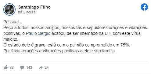 Sertanejo campo-grandense Paulo Sérgio está internado em estado grave com coronavírus