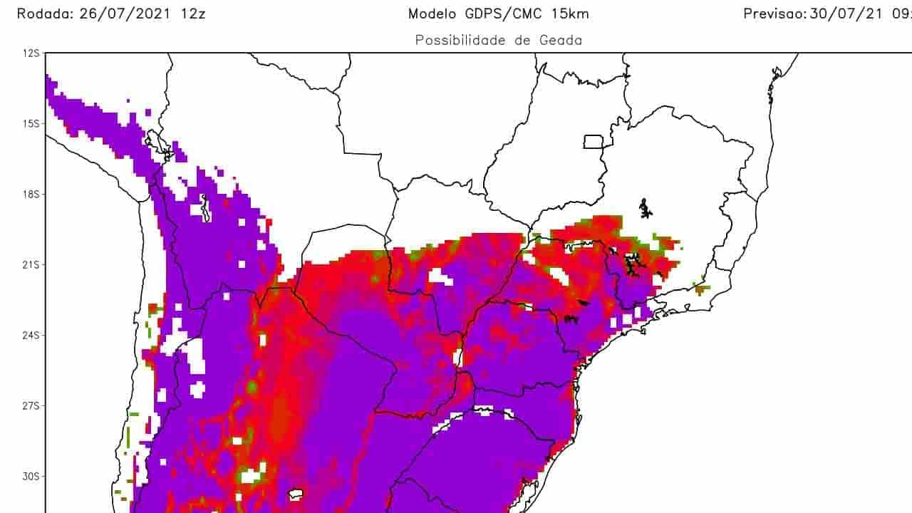 Frente fria trará geada para metade de MS e temperaturas negativas, alerta meteorologia